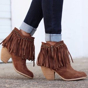 Not Rated | Ayita Brown Boho Fringe Ankle Booties